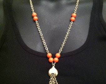 Vintage Gold Tone Chain Necklace with Orange Beads