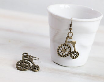 Bicycle Earrings, Antique Brass Bronze Earrings, Vintage Looking Earrings, Gift for Her