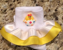 Easter chicky girls ruffle socks you pick color of ribbon