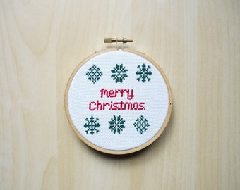 Cross Stitch Pattern -Merry Christmas- Christmas Pattern, Modern Cross Stitch, Easy Cross Stitch, xstitch -PDF Instant Download