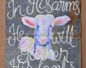 Original Large Tin Lambs Painting