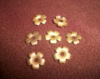 Vintage Oxidized Brass Flower Findings x 7  # P 4