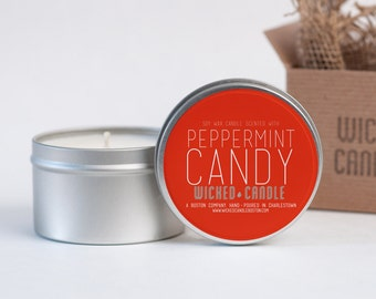 Peppermint Candy scented soy wax Wicked Candle