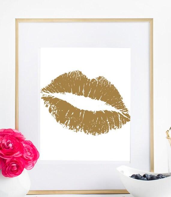 Wall Art Gold Lips : Gold lips art print faux wall by