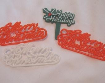 Super cute retro Merry Christmas Tree Cupcake & Cake Decorations