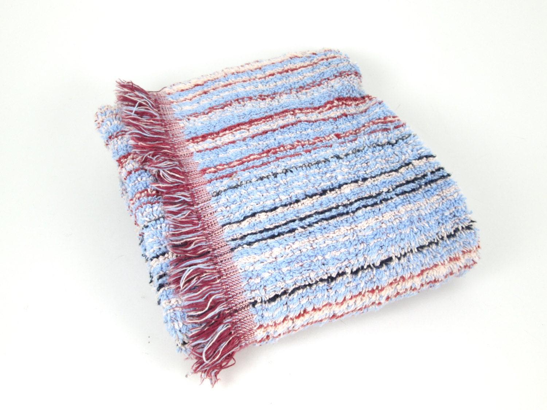 marsala stripe bath mat vintage terry cotton fringe. Black Bedroom Furniture Sets. Home Design Ideas