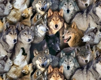 Fat Quarter Wolves North American Wildlife Cotton Quilting Fabric - Wolf117