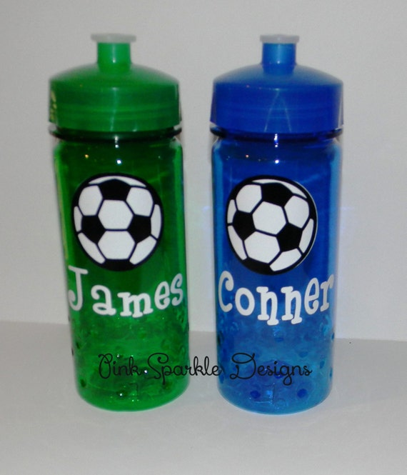 kids water bottle soccer personalized by pinksparkledesigns