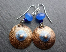 Moroccan Star Design Earrings with Blue Lace Agate Beads
