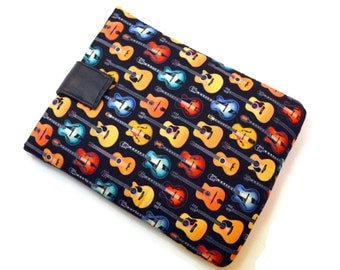 Handcrafted, Tablet Case, iPad Case, Guitar, Guitarist, iPad Mini Case, Kindle Case, Tablet Sleeve, Cozy, FOAM Padding, Gift, Black