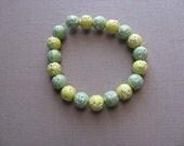 JEWELRY SALE- Girls Bracelet- Beaded Children's Jewelry- Green, Yellow with little stars