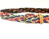 Rainbow Leather Belt Large - Braided Leather Belt - Large Belt - Leather Waist Belt - Colorful Boho Belt