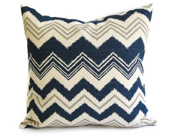 """Navy and Natural pillow cover One 18"""" x 18"""" Zazzle zig zag chevron stripe in navy natural and gray grey"""