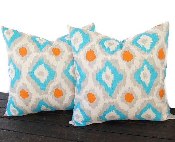 Throw Pillow Covers 20 X 20 : Throw pillow covers set of two 20 x 20 IKAT by ThePillowPeople