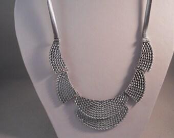 Silver Tone Pendants Bib Necklace on a Silver Tone Chain