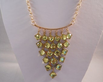 SALE Gold Tone Bib Necklace with Green/Gold Rhinestone Pendant