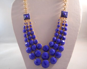 3 Row Blue Bead Necklace on a Gold Tone Chain