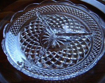 Vintage Wexford Crystal Serving Platter 9 inch plate kitchen decor super bowl party decor gift wedding table  party decor dining