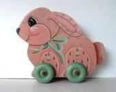 Vintage Pink Wooden Bunny rolling toy, Primitive Folk Art, Home decor, Nursery Decor, New Baby, gift idea