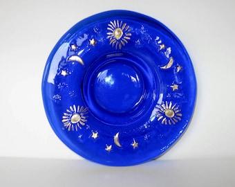 Vintage Cobalt Blue Celestial candle holder, trinket dish, Home Decor, Sun, Moon, Stars, gift idea