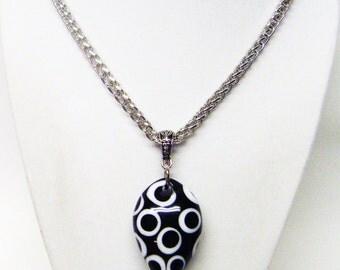 Chunky Black w/ White Dots Glass Pendant Necklace