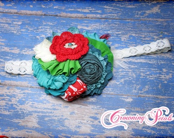 Red, Teal, Turquoise, Green Headband, Matilda Jane, M2M Birds of a Feather, Character Counts, Hair Clip, Hairbow, Hair Accessory, Hair Bow