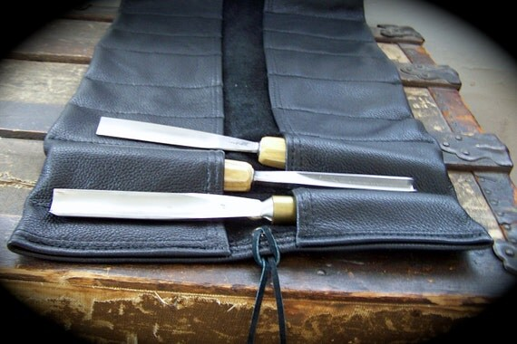 Leather Tool Roll Large Extra Large Black Leather Tool