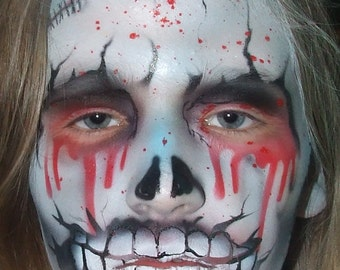 Zombie facepainting Halloween airbrush stencil
