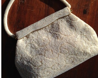 Mid-Century Beaded Handbag: Formal white evening bag 1960s - Bridal purse with carry strap