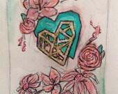 Geomettic Tribal Desert Heart and Flower Illustration Pocket Moleskine Sketchbook Journal RESERVED GILLMAC79
