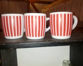 Three Hazel Atlas red stripe coffee mugs
