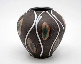 Hand-decorated fat lava vase (West German Pottery)