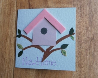 New Home card. Individually handmade change of address notification or house warming card