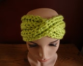 Chunky Turban Headband -  Lime Green - Handknit
