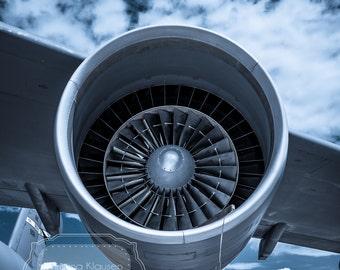 Airplane Photograph.  Airplane Engine Photo.  Nursery Decor.  Airplane Boy's Room. Army. EAA. Dark. Moody. Clouds. Fine Art Photography