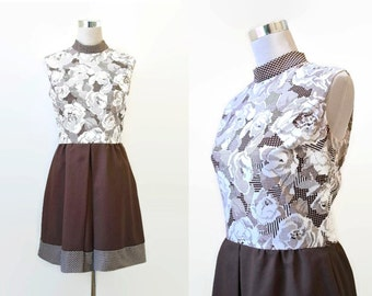 70's Mini Dress - 1970's Vintage Dress - Brown And White Print Dress