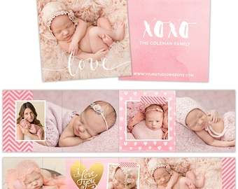 Accordion Book Template, 3x3 Accordion Template, Accordion Mini Template, Accordion Mini Book for Girls    Gold Heart - AM125