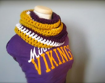 Crochet Purple, White, and Gold, Hockey, Football, Soccer, Minnesota, Lakers Colors Infinity Scarf, Men's Scarf, Unisex Scarf