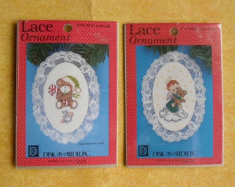 Christmas Craft Kits - Designs for the Needle Inc USA - 1217 Angel with Teddy - 1235 Bear and Mouse - 2 Embroidery Kits - Stocking Stuffers