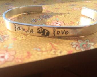 Panda love hand stamped aluminum bracelet