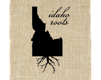 Idaho Roots Unframed, Burlap Print, Wall Art, Burlap, State Roots, Frame Included