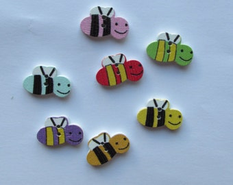 Bees Wooden Buttons