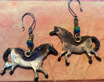 Bronze Mythic Horse Talisman Earrings, Blue-Green bead accents