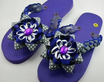 Purple and Gray Embellished Flip Flops- Ladies Size M (Size 7 to 8.5)