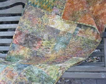 Lap Quilt, Sofa Quilt, Quilted Throw - Autumn Joy 2 Batik Quilt