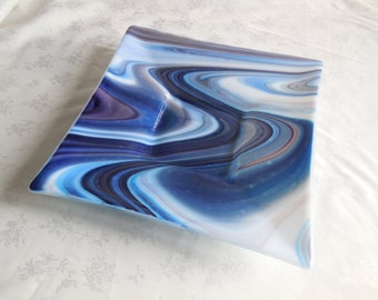 Blue and Purple Fused Glass Plate 12""