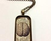 Anatomical Brain Glass Pendant Necklace