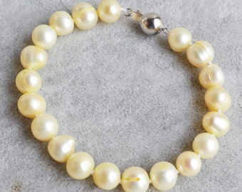 light yellow pearl bracelet - 8-9mm yellow pearl bracelet,freshwater pearl bracelet,pearl jewelry,freshwater pearl bracelet,
