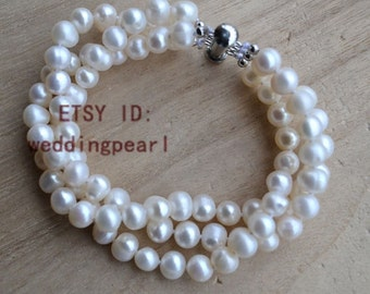 pearl bracelet, 3 rows 8 inches 6-7mm White freshwater pearl bracelet, wedding bracelet, bride bracelet, bridesmaid bracelet, jewelry