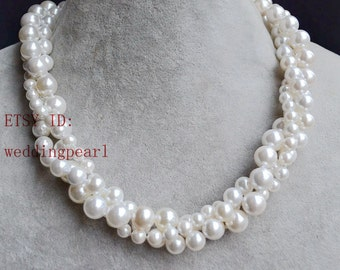 twist pearl necklace,shell pearl necklace, 3 row off white pearl necklace, pearl jewelery, bride necklace,bridesmaids necklaces